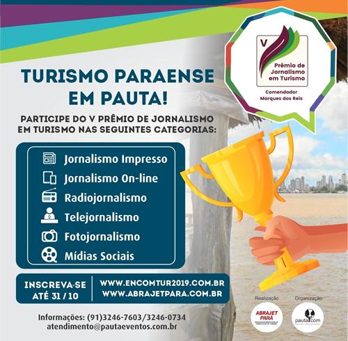 Inscreva-se no V Prêmio de Jornalismo em Turismo da Abrajet-Pará