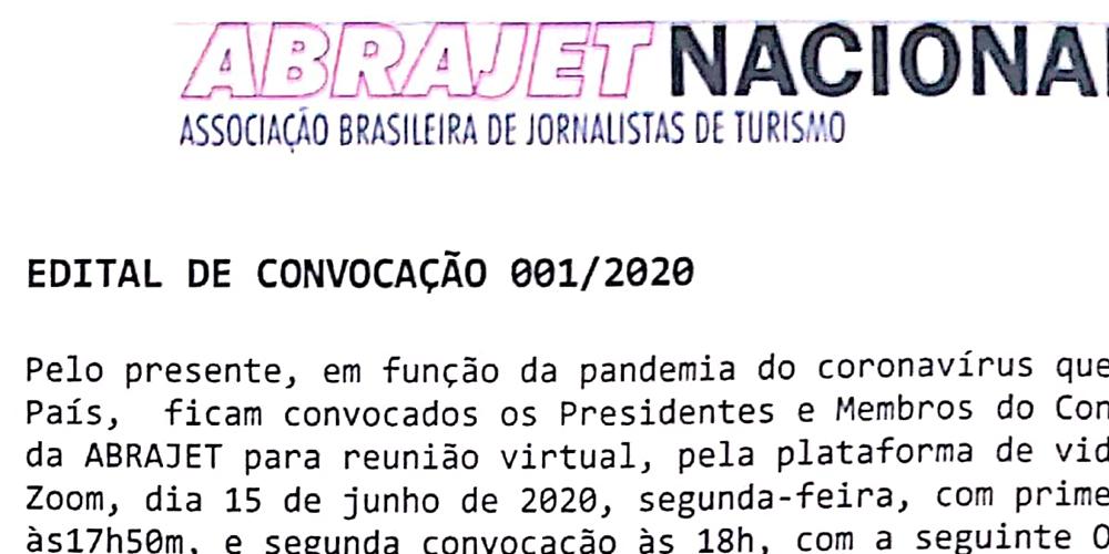 EDITAL DE CONVOCAÇÃO 001/2020