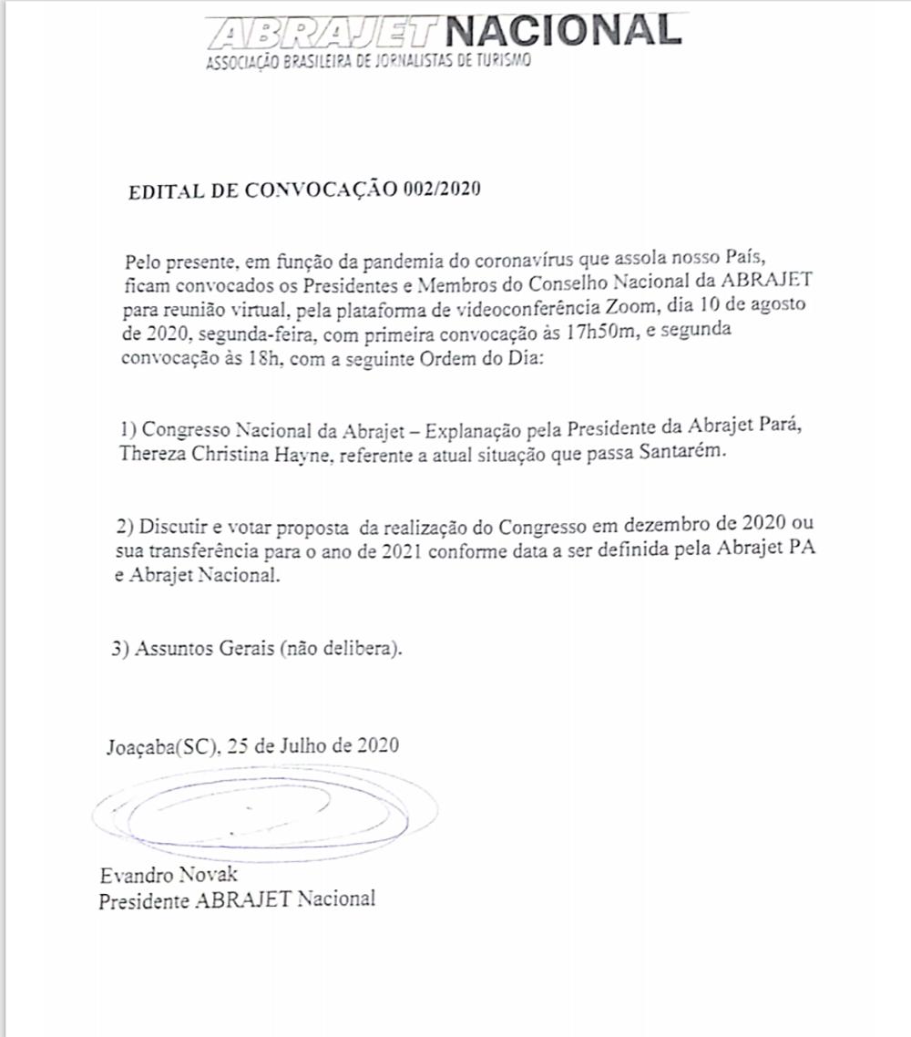 EDITAL DE CONVOCAÇÃO 002/2020